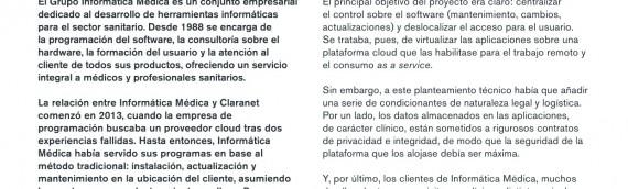 Plataforma Cloud Claranet, confianza para nuestro software centros médicos.
